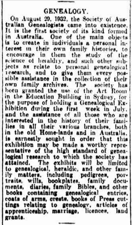 Newcastle Morning Herald and Miners' Advocate, GENEALOGY. 14 june 1934, p. 6 2017 http://nla.gov.au/nla.news-article135107397