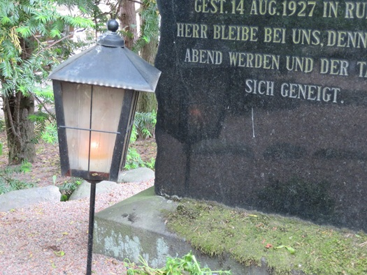 candle lantern on grave