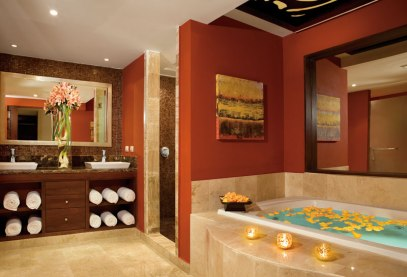 Dreams Palm Beach Punta Cana - Accommodations - The spacious bathroom of the Presidential Suite at Dreams Palm Beach provides guests with outstanding amenities that include a separate shower, dual vanities, a large jetted-tub and a wealth of other amenities