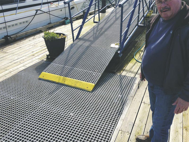 Clark Van Bogart says the marina wants to upgrade its dock to anti-slip grid decking that is safer for visitors and better for the environment.
