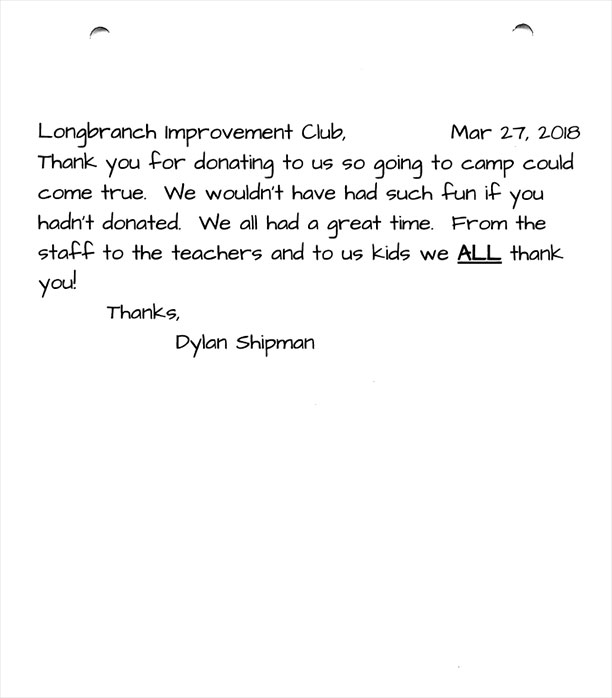 Evergreen Elementary 5th graders thank you letters Dylan Shipman