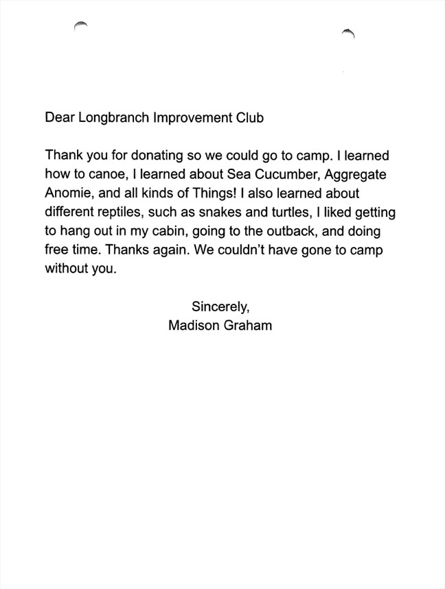 Evergreen Elementary 5th graders thank you letters Madison Graham