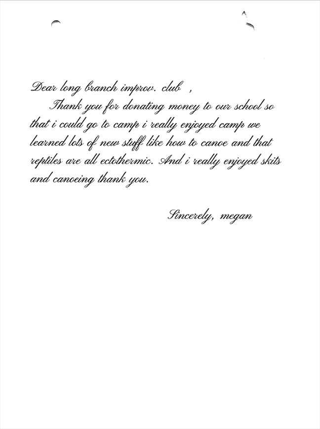 Evergreen Elementary 5th graders thank you letters Megan