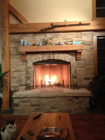 Timber Frame Furniture: Fireplace Mantel