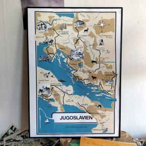 Jugoslavien screen printed poster