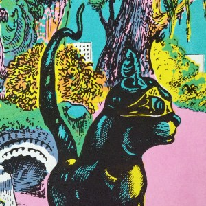 Black sheep cat family - screen printed poster by John Andersson. Detail