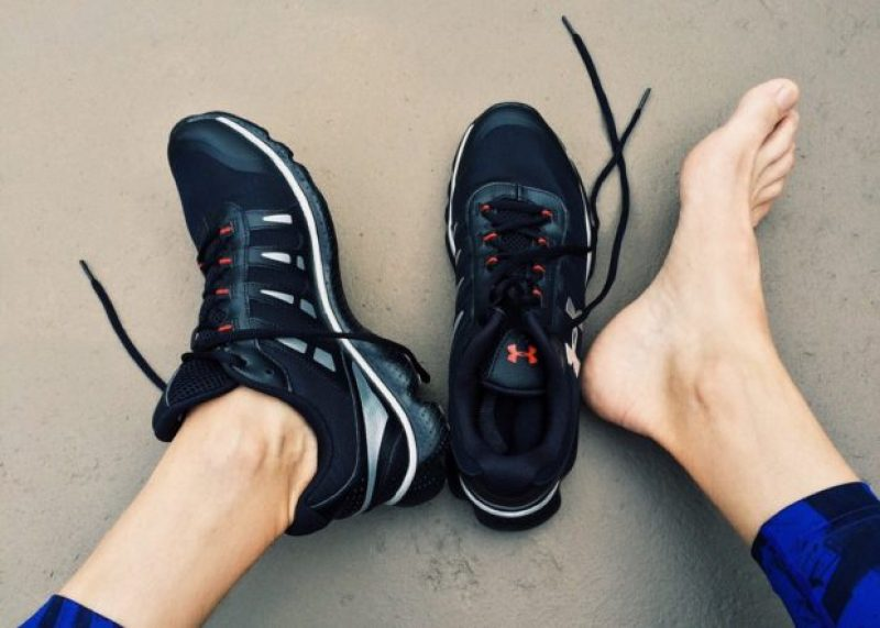 feet with running shoes