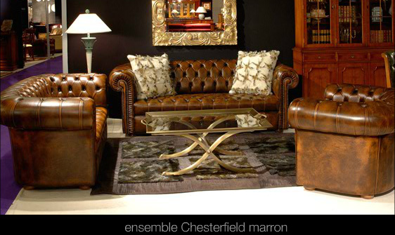 Salon Chesterfield En Cuir De Vachette Coloris Marron