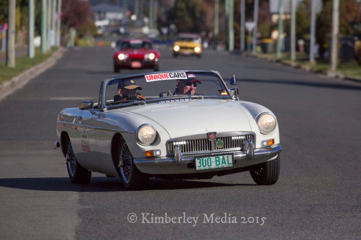 Competitors in Targa Tasmania pass the Church corner in Longford on day 3 of the internationally renowned motorsport event.