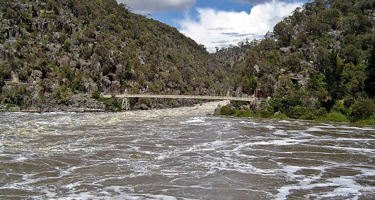 Cataract Gorge in flood - image by Aaron Crick