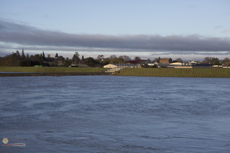 Longford's levee bank and gates in action.