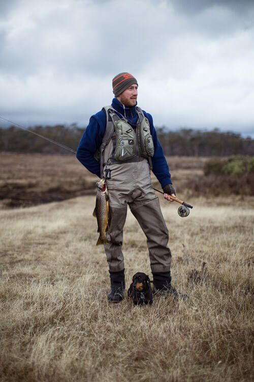 Fly fishing for trout in northern Tasmania