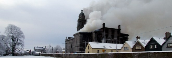 St. Mels Cathederal on fire. Image: www.LongfordParish.com