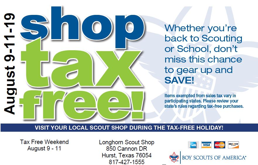 Tax Free Weekend August 9th, 10th, & 11th