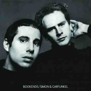 The album cover for Simon & Garfunkel's Bookends. The image is black and white and shows both band members' faces, leaning in together and looking into the camera.