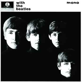 The album cover for the Beatle's vinyl With The Beatles. The image is black and white and shows all four of the band members' faces, lit up heavily so only half of each face is fully visible.