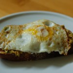 Eggy avocado toast with sambal oelek and Vegemite