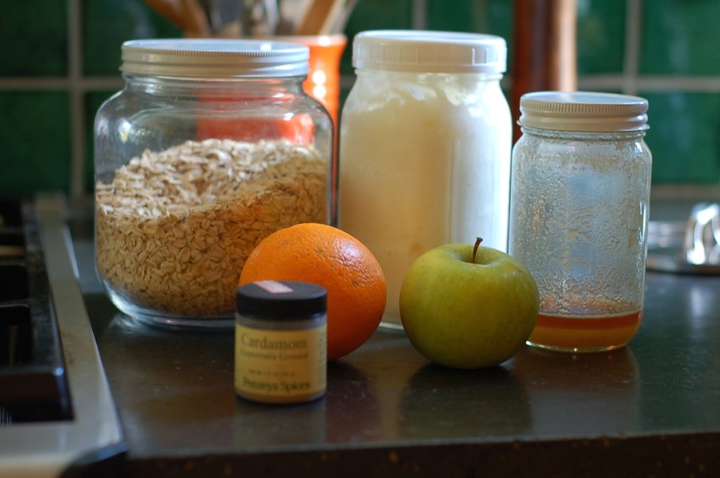 orange cardamom bircher mueseli mise en place