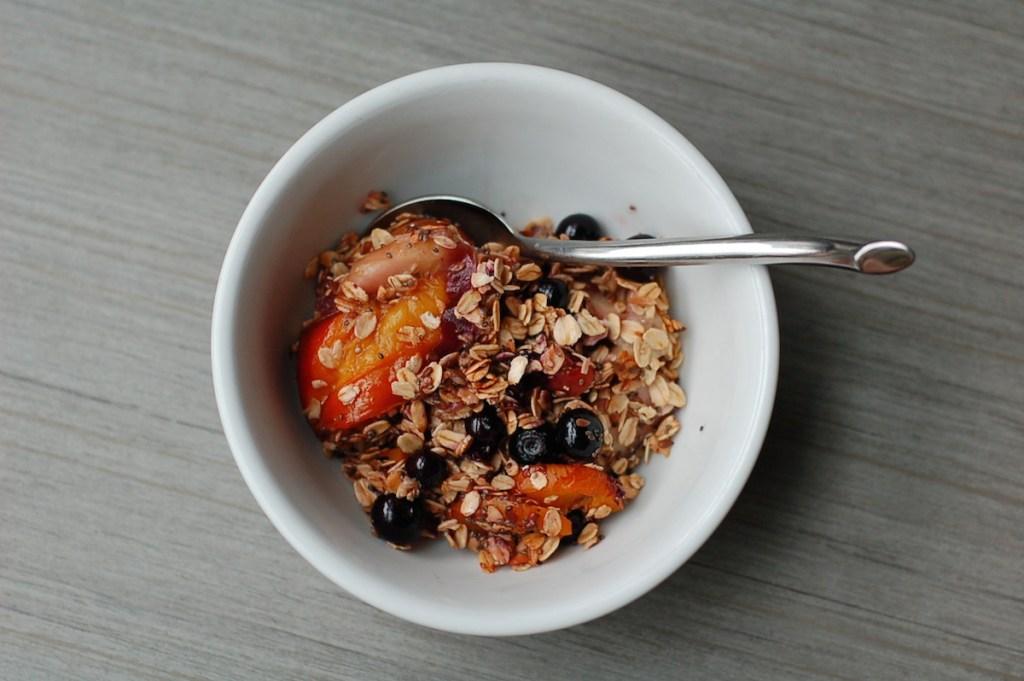 Summer fruit breakfast crumble bowl