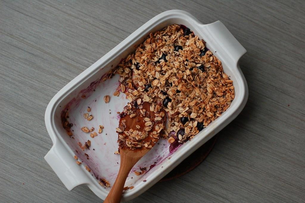 Summer fruit breakfast crumble served