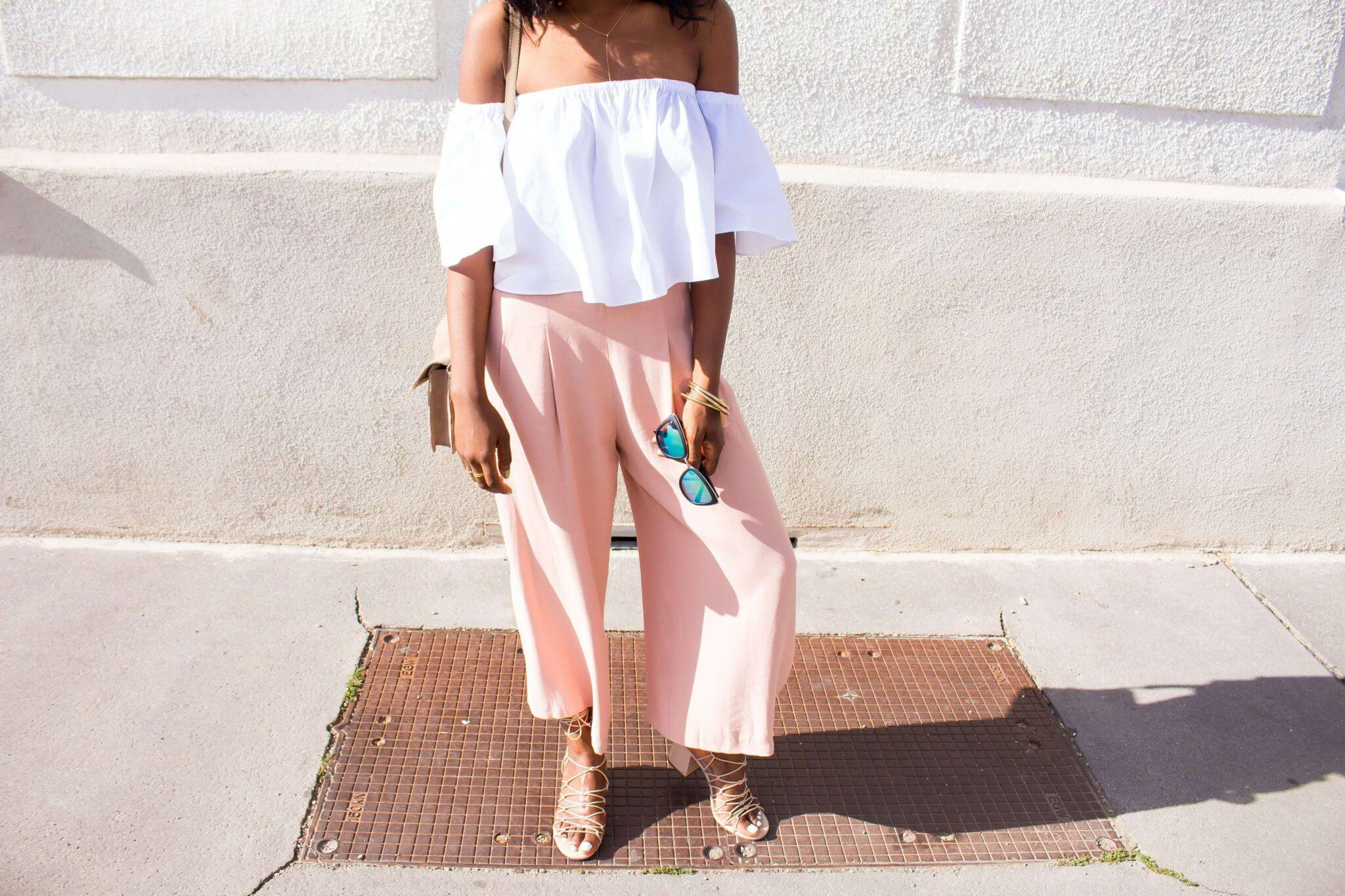 Pink Culottes Pants; White offshoulder top; My girl QuayAustralia; Chloe Knotted Sandal Dupes