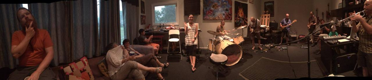 A photo of me and friends in my studio I call the Hiatus.