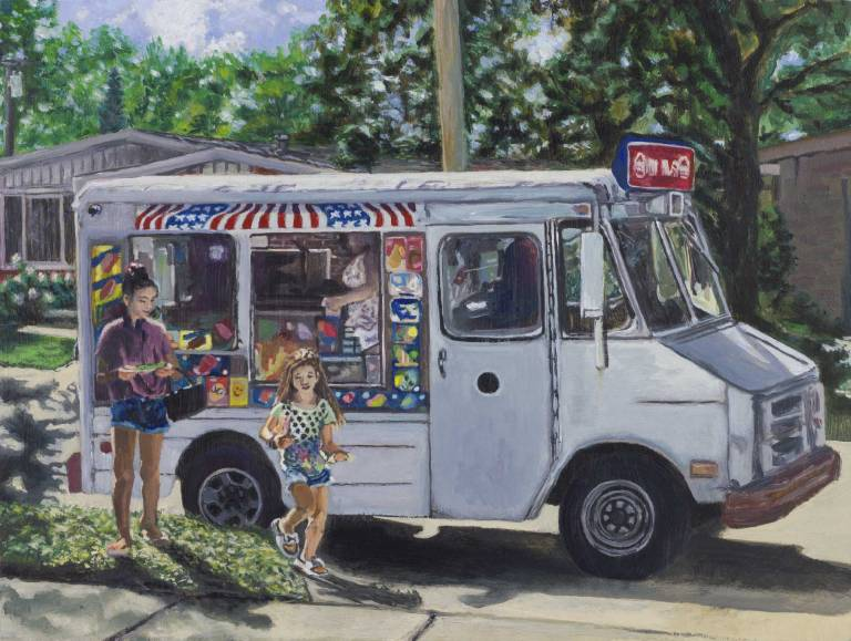 "image of a painting of two girls and an ice cream truck on a summer day, titled ""Allowance"", by artist Steve Miller."