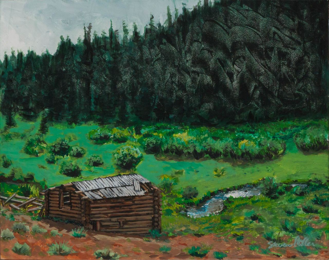 """Landscape painting of a cabin and river in the mountains with lots of green by Steve Miller titled Anomaly, 14"""" x 11"""", acrylic on art masonite, completed 10/3/13, © Steven Miller 2013"""