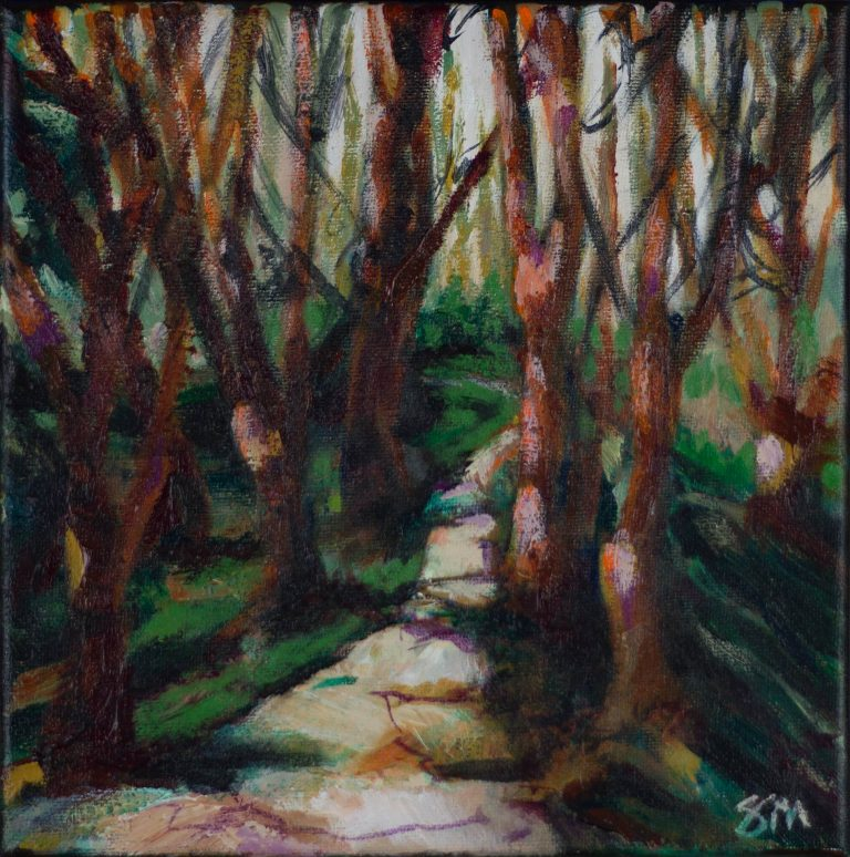 Small imaginary, acrylic landscape painting titled Into the Woods, by Steve Miller featuring a wooded trail.