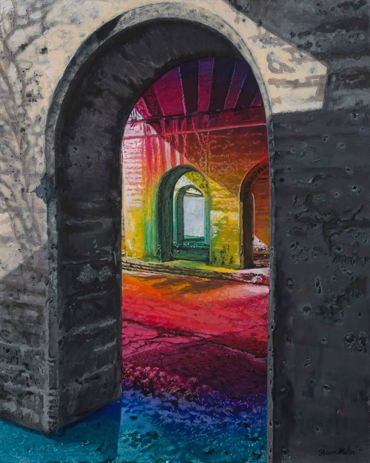 Colorful expressive painting by Steve Miller of an interpretation of a viaduct.