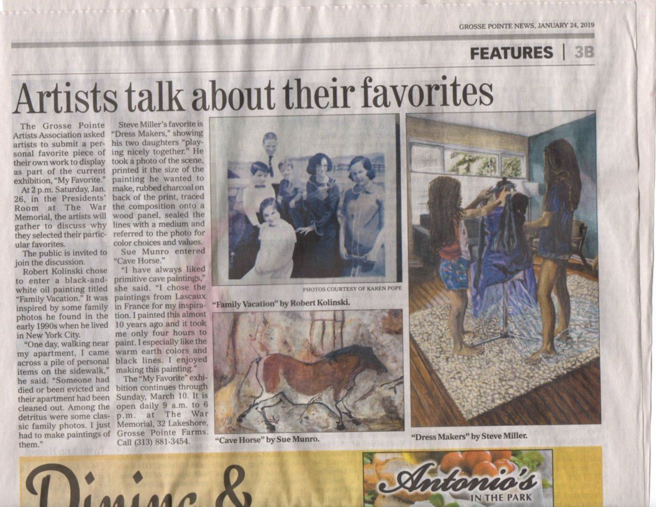 photo of the Grosse Pointe News article about My Favorites art exhibit at the GPAA