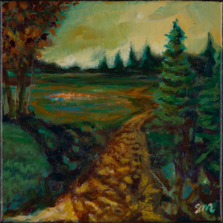 Small landscape painting of a dirt trail.