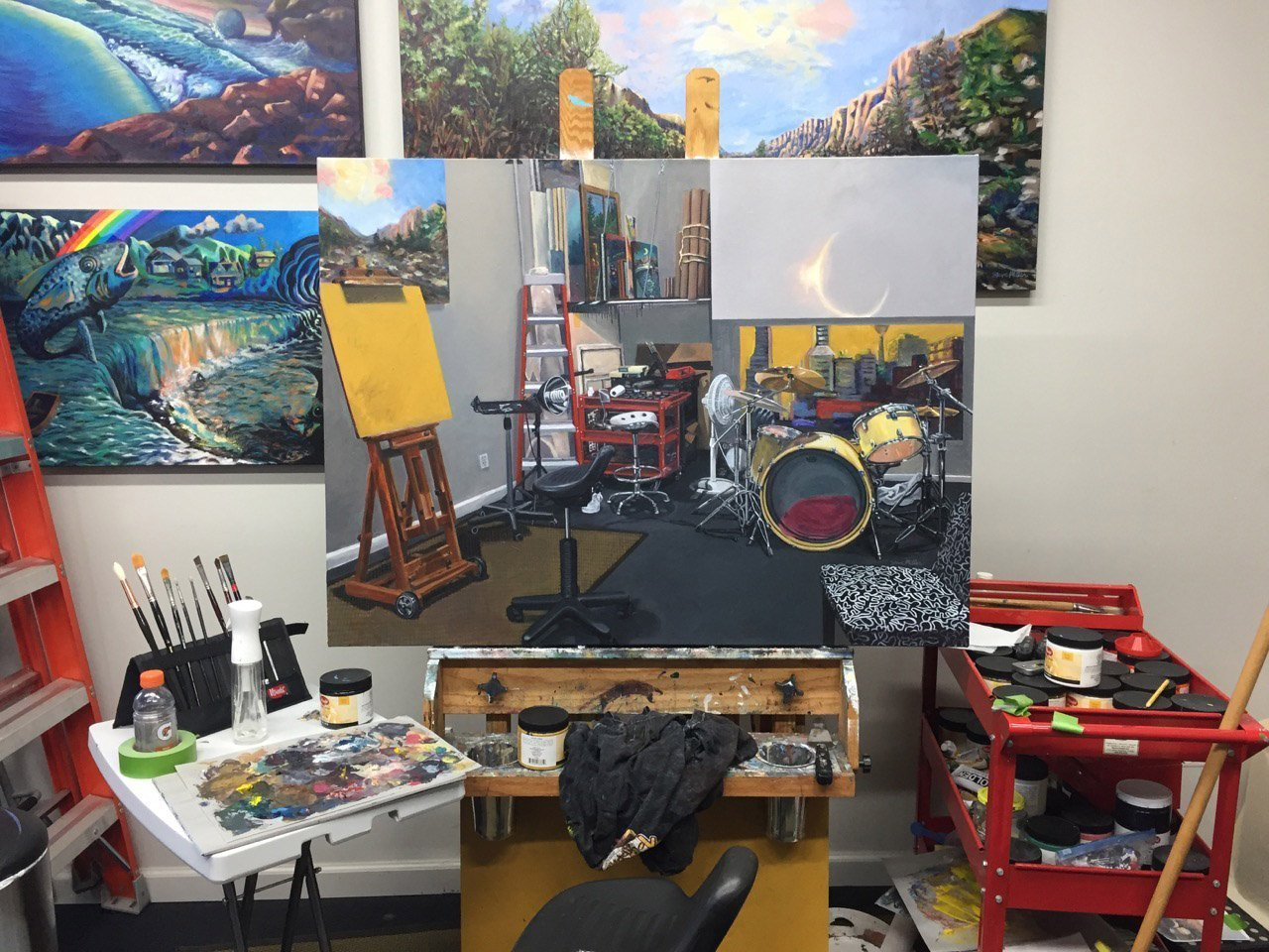 photo of my painting on the easel in my studio