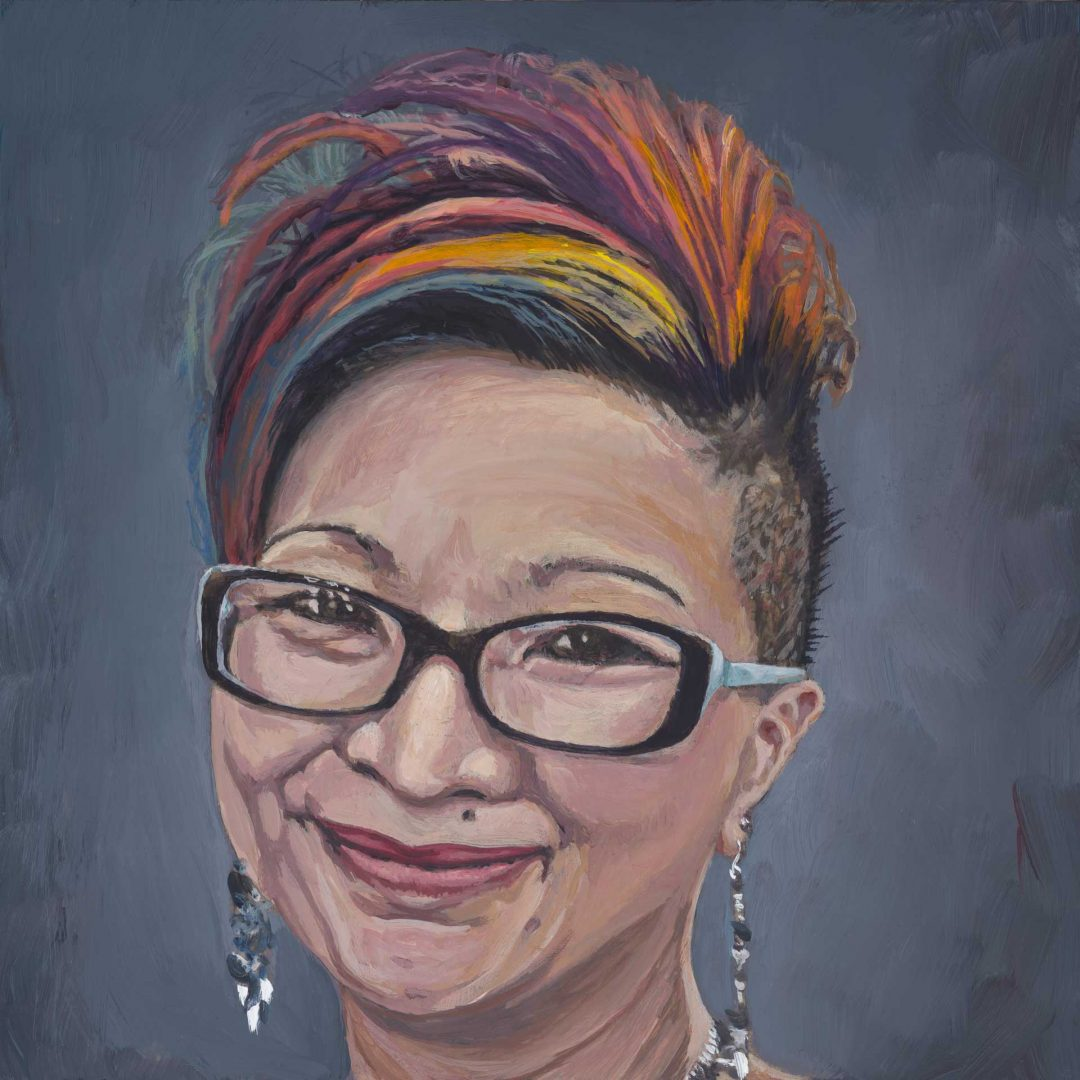 Portrait painting of artist's wife.