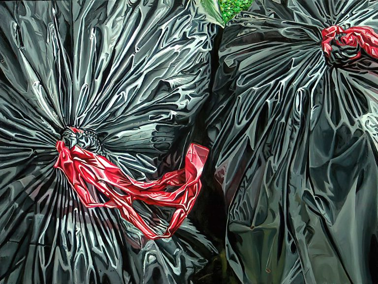 """Image of a painting by Steve Miller titled, """"Tuesday Morning"""" of a pair of black plastic trash bags cropped."""