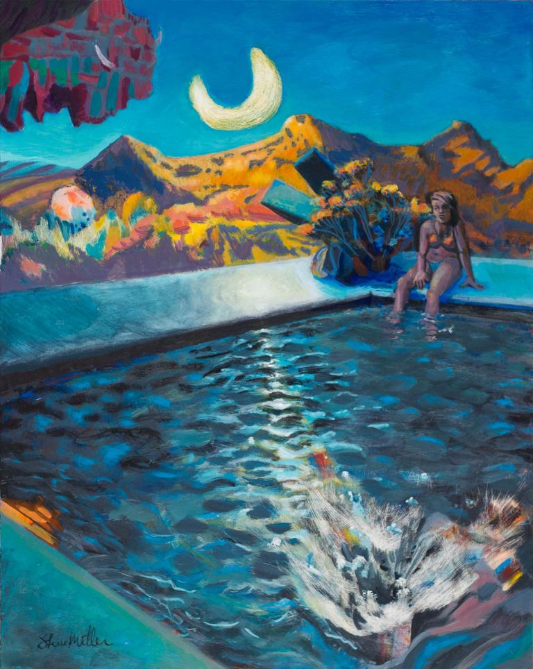 Acrylic landscape painting by Steve Miller of a sad girl daydreaming by the pool when someone makes a splash in the foreground.