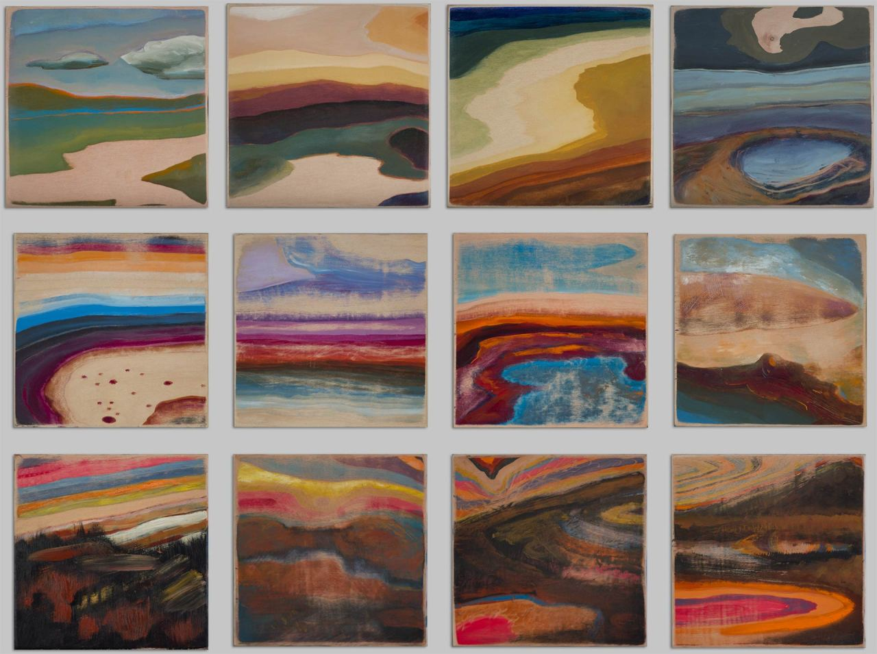 Small simple landscape paintings by Steve Miller titled Woodgrain Landscapes, acrylic on birch plywood, © Steve Miller 2015.