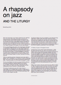 Article on Jazz in Mass for the Melbourne Catholic