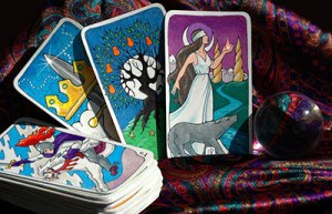 Looking Beyond Master Psychics - Tarot cards with a crystal ball.