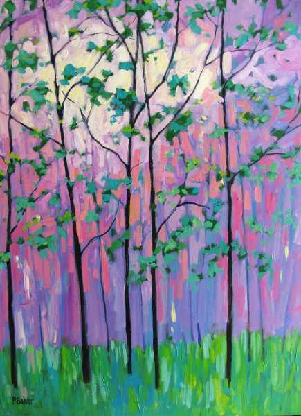 Forest Paintings Landscape Sunset