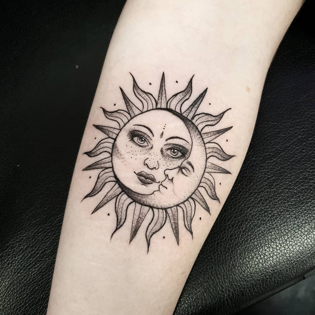 Day and night, balance and unity symbol. Updated 43 Glorious Sun And Moon Tattoos August 2020