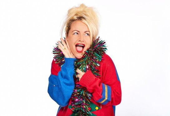 Jaime Winstone supports Save the Children's Christmas Jumper Day