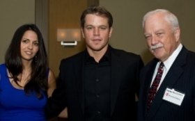 Matt Damon with wife Lucinda and Save the Children's President and CEO