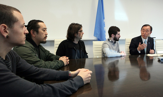 Photo: Linkin Park meets with UN Secretary-General Ban Ki-moon, andFacebook Marketing Director Randi Zuckerberg