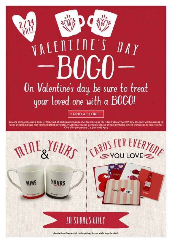 Coffee Valentine's Bogo Coupon Drink Caribou Day For 43Rj5LA