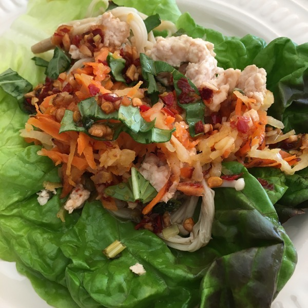 My recipe for Chicken Larb Lettuce Wraps