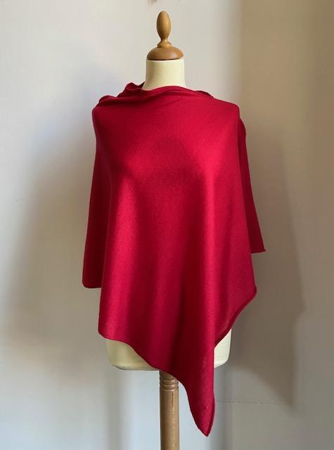 Poncho cashmere rosso