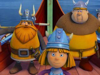 Die Wikinger-Crew: Urobe, Halvar, Wickie, Faxe und Tjure (v.l.n.r.)