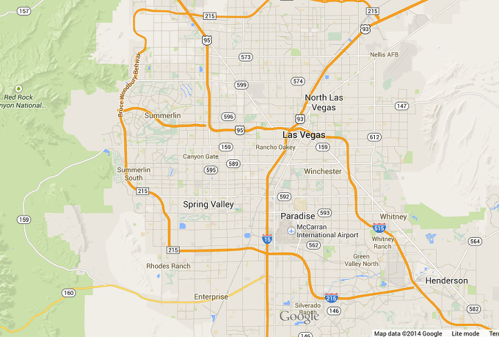 Map of Las Vegas and Clark County area, courtesy of Google Maps 2014,