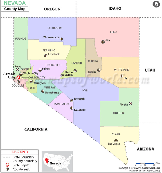 This map of counties in Nevada can be viewed at Maps of the World: http://www.mapsofworld.com/usa/states/nevada/nevada-county-map.html